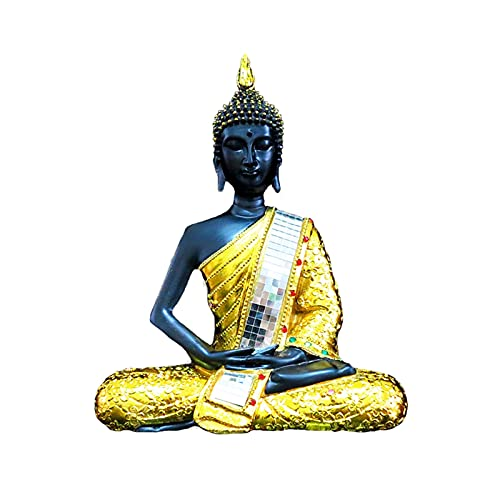 Thai Buddha Statue Golden buddha statue for Home 11' High Feng Shui Decoration for Peace and Harmony Meditation Pose Indoor Spiritual Zen Home Decor Ornament or Gift Thai Buddha Ornaments