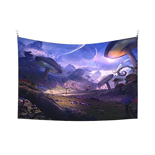 Tapiz de galaxia de setas psicodélico con estrellas moradas de cuento de hadas de bosque encantado, para dormitorio, sala de estar, dormitorio de 156 x 100 cm