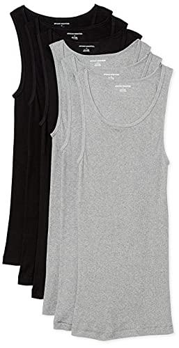 Amazon Essentials 6-Pack Tank Undershirts Camisa, Negro (Black/Heather Grey), X-Small