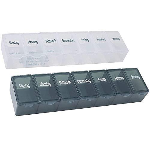 Pillendose 7 Tage, Pillenbox, Pillenturm, Medikamentenbox, Tablettenbox, Wochendispenser (2er Set flach transparent/grau)