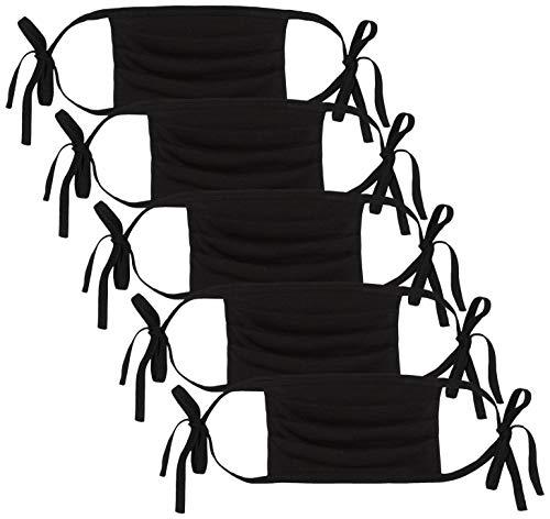 Oscar Apparels Wiederverwendbare Stoffmaske, 100% BCI Baumwolle mit Schleife zum Selbstbinden, Schwarz, Erwachsene (5er Pack)