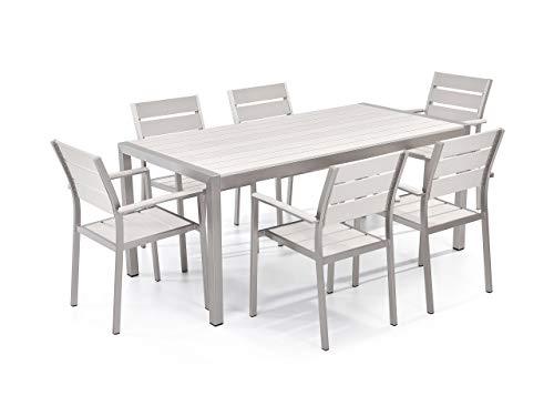 Beliani Minimalistisches Gartenset Tisch mit 6 Stühlen Kunstholz weiß Vernio