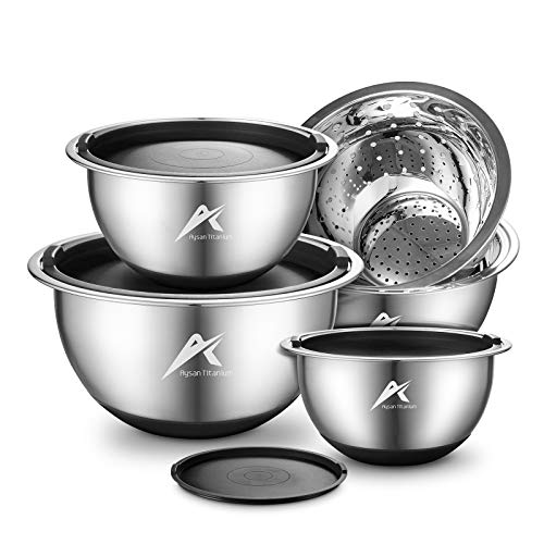 Stainless Steel Mixing Bowls with Airtight Lids, Nesting Bowl Set with 1 Strainer Bowl & 4 bowls, Measurement Marks & Non-Slip Bottom, Black