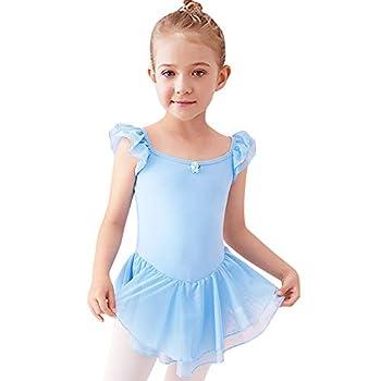 Toddler Kids Girls Flower Ruffle Sleeves Ballet Dance Dress Irregular Ruffle Chiffon Tutu Skirted Leotard Little Big Princess Ballerina Dress Gymnastics Dancewear Costume Blue - Flower 3-4 Years
