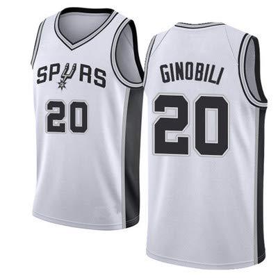 Ginobili Spurs # 20 College Basketball Trikot, Sportbekleidung, Unisex Ärmelloses T-Shirt Jersey Westen Tops Sleevless T Shirts-White-XL