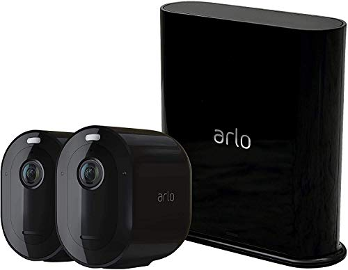 Arlo Pro 3 | Caméra de surveillance Wifi, Batterie rechargeable Alarme Grand angle 160° Audio Bi-directionnel Eclairage spotlight intégré - Black Edition Pack de 2 Caméras (VMS4240B)