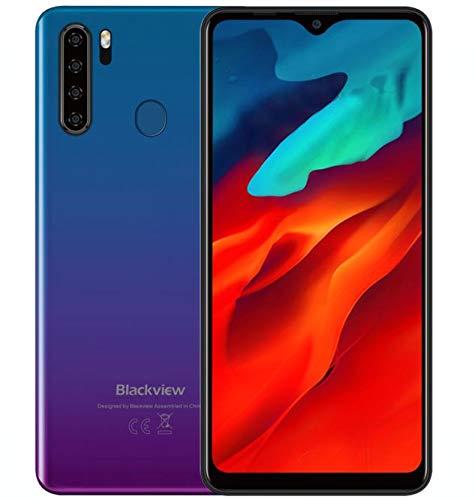 Blackview A80 Pro Teléfono Móvil Libres 4G, Pantalla HD + de 6.49'', Helio P25 4GB + 64GB, Cuatro Cámaras Traseras, Batería 4680mAh, Grosor de 8.8 mm, Smartphone Android 9.0 Dual SIM, GPS Azul