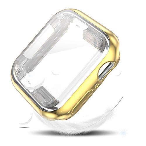 CGRA Coperchio Flessibile della Protezione dello Schermo per l orologio Apple SE Caso Serie 6 5 4 3 TPU Bumper 40mm 44mm 38mm 42mm per Shell iwatch, (Color : Gold, Dial Diameter : 44mm)