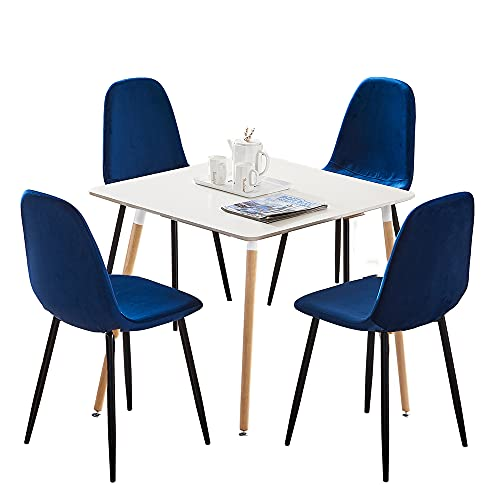 HomeSailing EU Set of 4 Velvet Dining Chairs and 70cm Square Dining Table Sets with Wood Legs Retro Lounge chair for Living Room Kitchen Office Restaurant