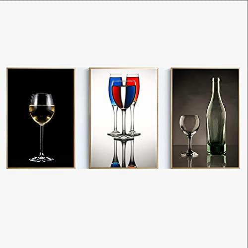 Pintura en Lienzo Cartel de Copa de Vino e Impresiones Pintura de Pared Hogar Restaurante Arte de la Pared Decoración Giclee Obra de Arte (50x70cm) × 3 Piezas Sin Marco