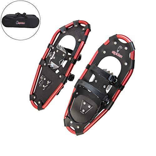 ALPIDEX Raquetas Nieve Aluminio Bolsa Incluida Bastones Carbono Opcional Hombre Mujer, Color:Black/Red 21