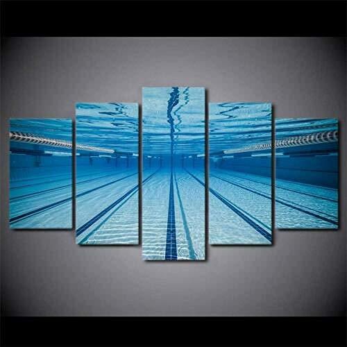 194Tdfc Swimming Pool Swimmer Sports 5 Teilig Leinwand Bilder Wanddekoration Gemälde Moderne Wohnzimmer Schlafzimmer Auf Wandkunst Für Wand Aufhängen Home Dekoration Hd Print 150 * 80Cm