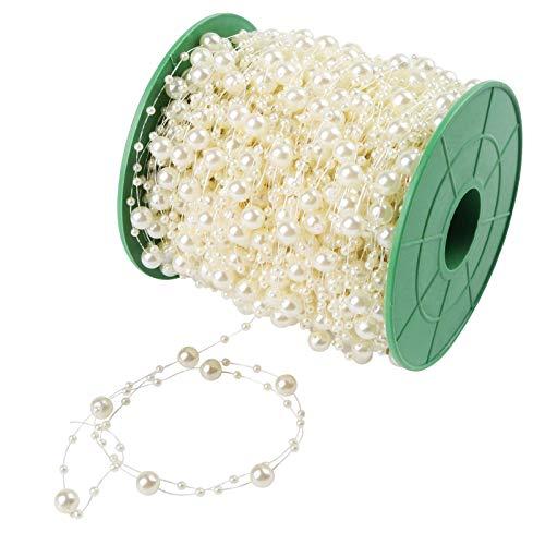 VGOODALL Perlengirlande Perlenband 60 M mit Schere Perlen Girlande für Hochzeit Dekoration, Perlenschnur Tisch Deko Perlenkette Weihnachtlicher Baumschmuck