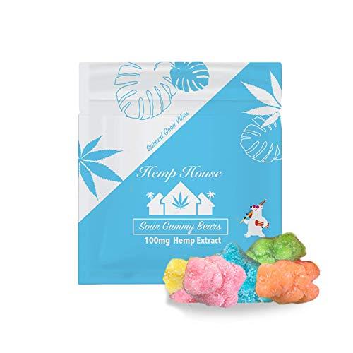 Hemp House Hemp Gummies, 100mg Natural Hemp Extract, Sour Hemp-Infused Gummies for Stress, Anxiety, and Pain Relief