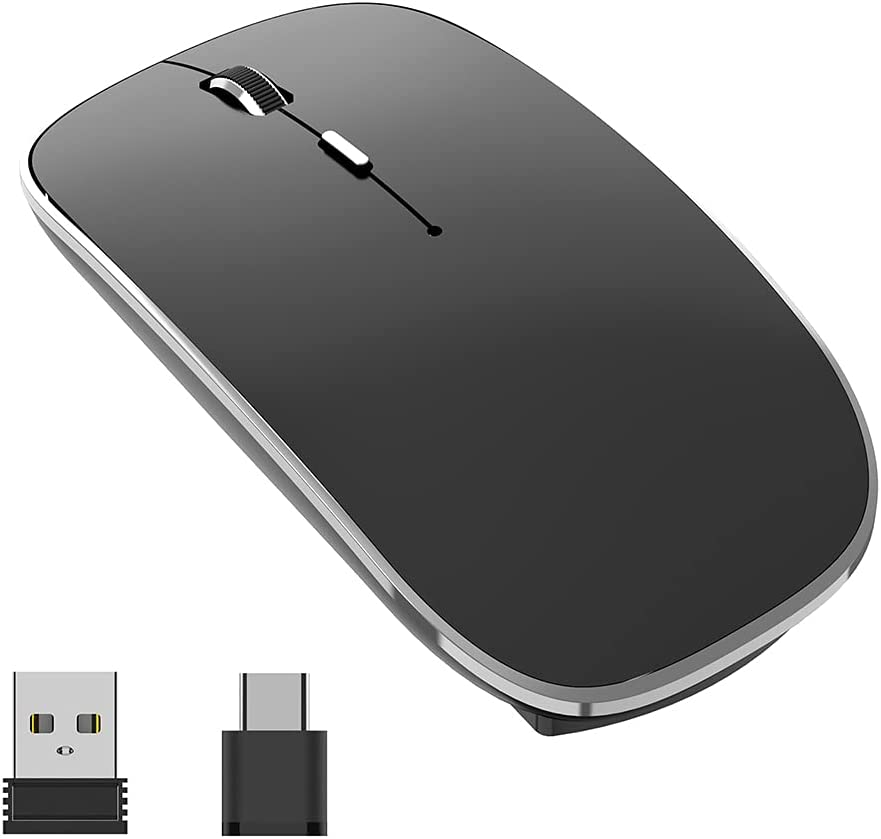 Halpilt Wireless Mouse Rechargeable, Portable, Silent Click USB-A Type-C Dual Mode 3 Adjustable DPI Business Office Leisure Home Small Mouse(Q23S Black)