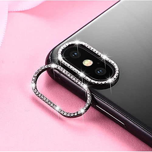 Best Shopper - Glitter Rhinestone Camera Lens Film Protective Case Lens Protector For Apple iPhone XS Max - Black
