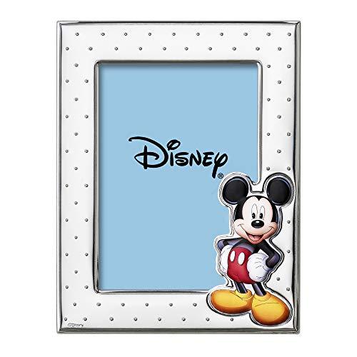 Disney Baby - Topolino Mickey Mouse - Cornice Porta Foto in Argento con dettagli dipinti a Colori da Tavolo o Comodino per la Cameretta del Bambino perfetta come Idea Regalo Battesimo o Compleanno
