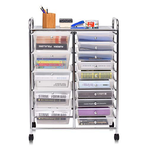 Happygrill 15-Drawer Organizer Cart Tools, Office School Paper Organizer Rolling Storage Cart with Wheels