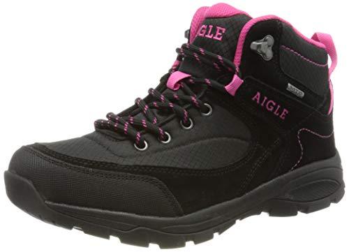 Aigle Vedur Mid W MTD, Chaussure de première randonnée Femme, Black/Fuschia, 38 EU