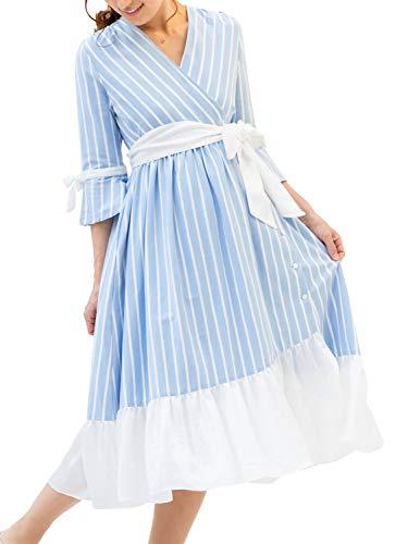 Sweet Mommy マタニティパジャマ 前開き ガウンタイプ 裾シフォン ルームウェア ストライプライトブルー M