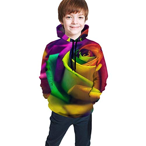 shenguang Sudadera con Capucha para niños Youth Hoodie Sweatshirt, Cool Multicolored Roses Realistic 3D Digital Printed Pullover Tops for Boys Girls 7-20 Years
