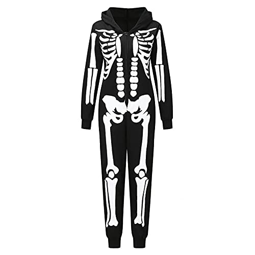 Julhold Pijama de Halloween Conjuntos de Calabaza Esqueleto Estampado Top y Pantalones Pijamas Familiares Ropa de Dormir a Juego Familiar Ropa de Dormir Conjunto de, Women / Black-01, XXL