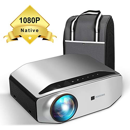 Native 1080p Projector - GooDee YG620 Newest LED Video Projector/ 6000Lux/ 300' Display/ Contrast 7000: 1/ Compatible with Firetv, HDMI, VGA, USB, Laptop and Smart Phone for Powerpoint Presentation