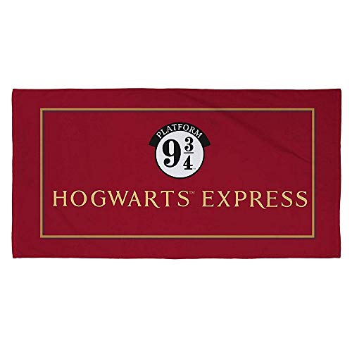 Harry Potter Toalla Oficial de Hogwarts Express, Tacto Suave, 100% algodón, hogar, la Playa y la Piscina, Color Rojo, 140 x 70 cm