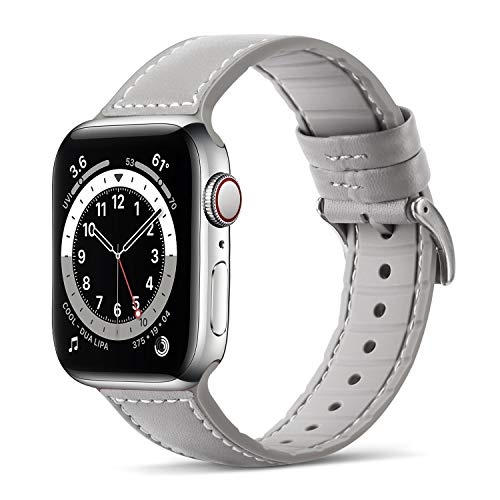 Tasikar Compatible pour Bracelet Apple Watch 44mm 42mm Cuir de Véritable Silicone Bracelet de Remplacement Compatible avec Apple Watch Se Séries 6/5/4 (44mm) Séries 3/2/1 (42mm) - Gris