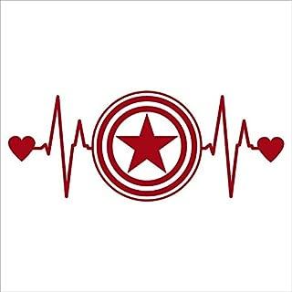 CCI Captain America Heartbeat Decal Vinyl Sticker|Cars Trucks Vans Walls Laptop| RED |6.5 x 2.75 in|CCI1599