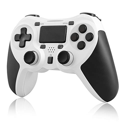 JAMSWALL Controller per PS4, Controller Wireless per PlayStation 4 e PC, Gamepad Touch Panel con Doppia Vibrazione e Funzione Audio, Impugnatura Antiscivolo e Touch Pad a Led, Bianco