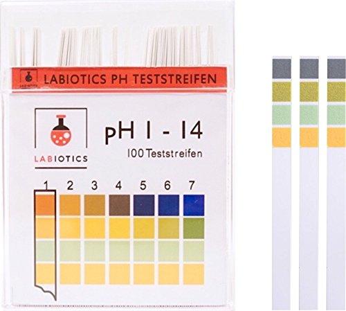 LABIOTICS pH Teststreifen für schnelle pH-Wert-Messungen (pH 1 – 14) – 100 pH Papier Teststreifen pro Packung – Universelles Indikatorpapier für Wasser & Co. (1)