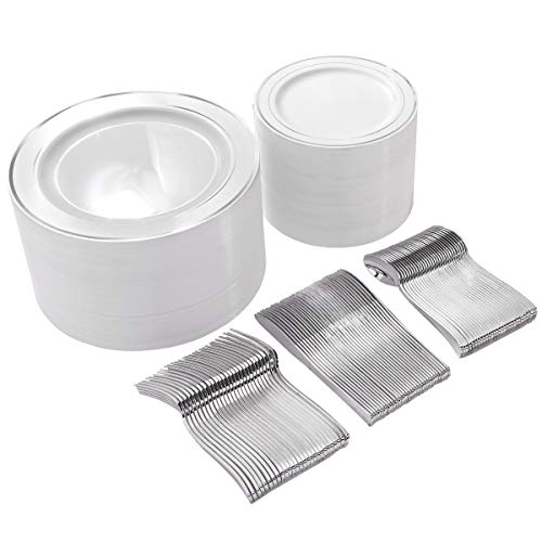 300 Pieces Silver Plastic Plates with Disposable Silverware, Fancy Tableware Sets include 60 Dinner Plates 10.25', 60 Salad Plates 7.5', 60 Forks, 60 Knives and 60 SpoonsServe for 60 Guest