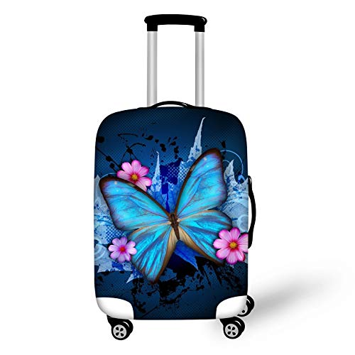 Bigcardesigns Blue Butterfly Luggage Covers Apply to 18-22 Inch Travel Suitcase S