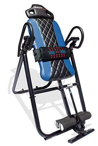 Health Gear HGI 4.2 Patent Pending Diamond Edition Heat & Vibration Massage Inversion Table, Blue, Blue