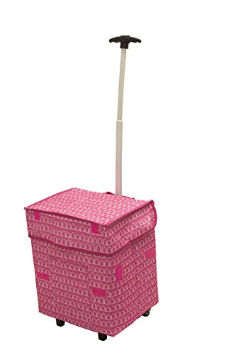 dbest products Smart Cart, Pink Arches Collapsible Rolling Utility Cart Basket Grocery Shopping Teacher Hobby Craft Art