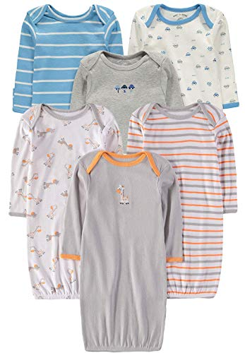 Multi Pack Wan-A-Beez Baby Boys and Girls Long Sleeve Baby Gown