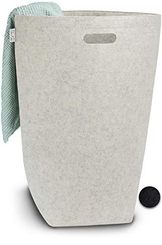 Elwin Neiles® <80L/grau> Designer Wäschekorb aus stilvollem Filz - Faltbarer Wäschesammler mit Griffen & Magnetverschluss - Wäschesack