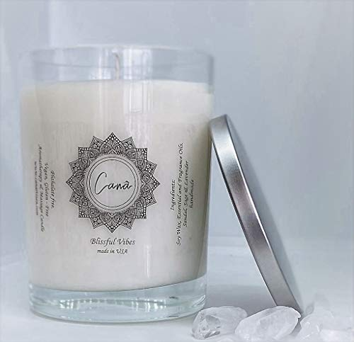 Canâ Blissful Vibe Soy Candle. Premium Relaxing Scented Soy Candle and Lotion 14 Oz Glass, Lavender, Sage Scented Candle and Lotion. Gift. Large Hand Poured. Made in USA