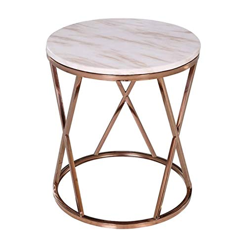 BLLXMX Modern Round Side Table with Gold Metal Frame, Nightstand/Small End Tables, White Marble Table Top for Living Room, Bed Room and Patio