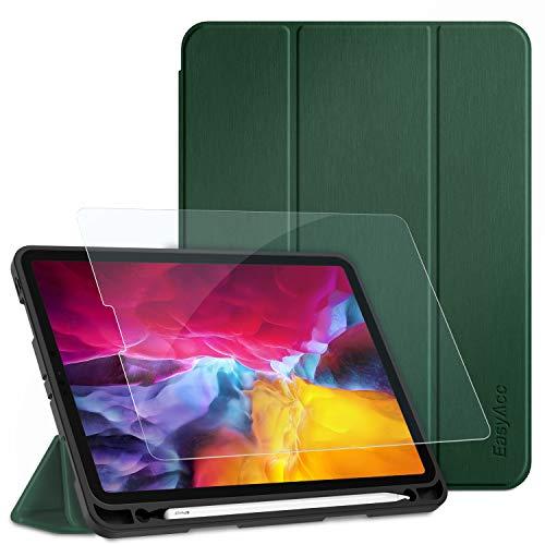EasyAcc Hülle + Panzerglas Kompatibel mit iPad Pro 11 2020 mit Stifthalter, Ultra Dünn Smart Cover Schutzhülle, Auto Schlaf/Aufwach Funktion PU Leder Hülle, dunkelgrün
