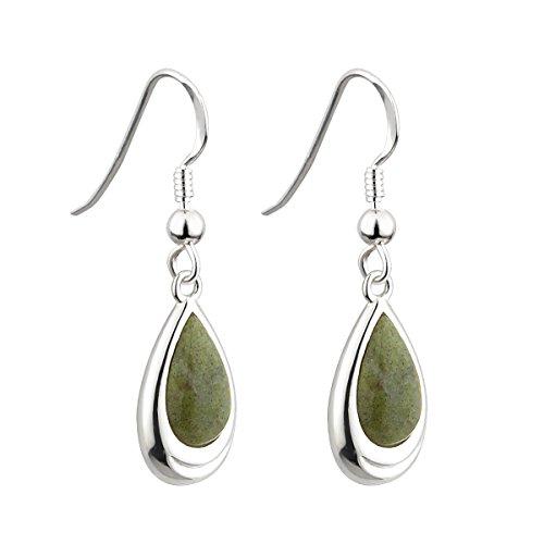 Connemara Marble Earrings Celtic Irish Teardrop Rhodium Plated Made in Ireland