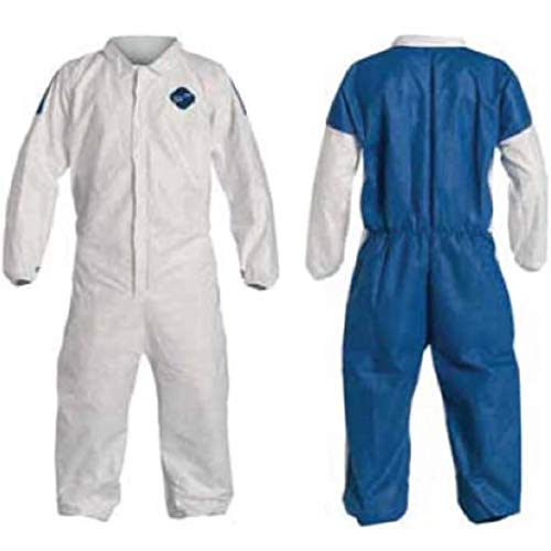 Tyvek and ProSheild Disposable Suite Coverall TD125S by Dupont with Elastic Wrists and Ankles (Medium)