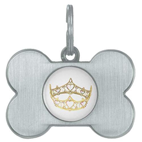 Stainless Steel Pet ID Tags, Queen of Hearts Crown Pet Tag, Dog Tags, Cat Tags, Bone Shaped ID Tag for Dogs and Cat