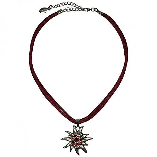 Trachtenkette für Dirndl oder Trachtenkleid großes Edelweiß mit Swarovski-Elements edle Dirndlkette Trachten-Kette mit Seidenkordel Halskette für Damen hochw. Qualität, Farbe:dunkelrot