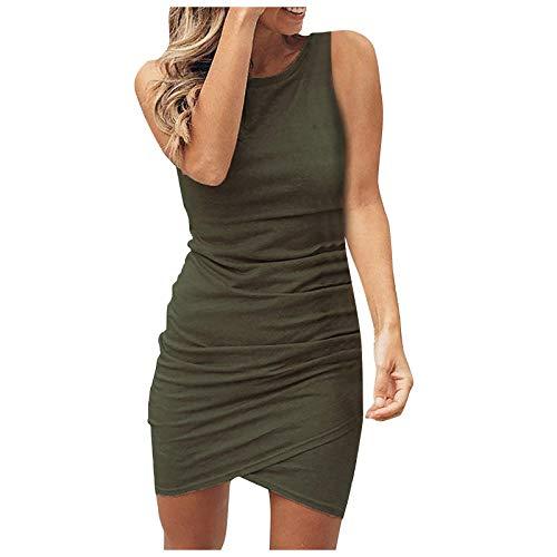 NAQUSHA Mini vestido de moda casual falda lápiz cuello redondo sin mangas vestido de fiesta vestido de bola vestido de playa