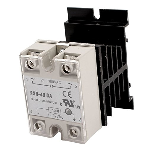 DC 3-32V Input AC 24-380V Output 40A SSR Solid State Relay w Heat Sink