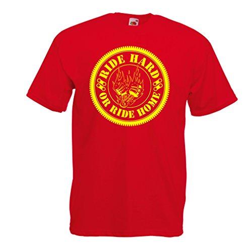 N4688 T-Shirt da Uomo Ride Hard! Biker Clothing (Medium Rosso Multicolore)