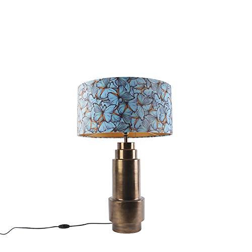 QAZQA Art Deco Art deco tafellamp brons met velours vlinder kap 50 cm - Bruut/Innenbeleuchtung/Wohnzimmerlampe/Schlafzimmer Stahl/Textil Zylinder/Länglich LED geeignet E27 Max. 1 x 40 Watt