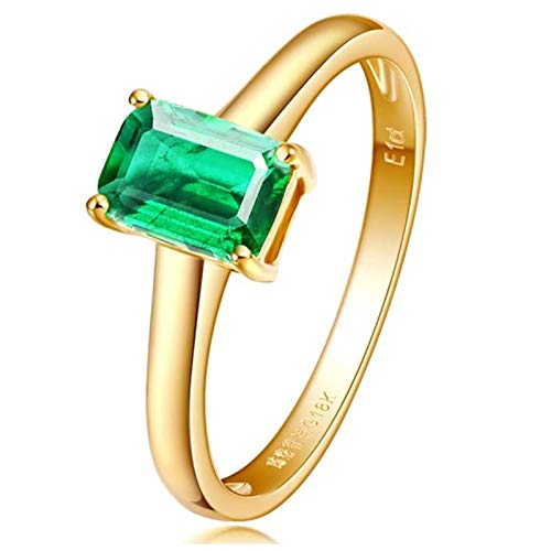 Ubestlove Eternity Ring Emerald Gemstone Eternity Ring Rectangle Real Gold Ring Womens 1Ct T 1/2